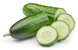 Cucumber clipping path. Cucumber vegetable with cucumber slice isolated on white background. High End Retouching