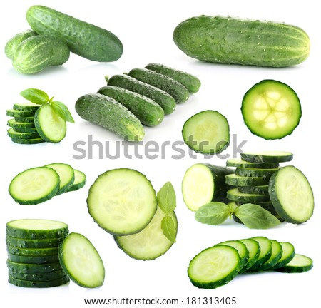Shutterstock Cucumber collage isolated on white