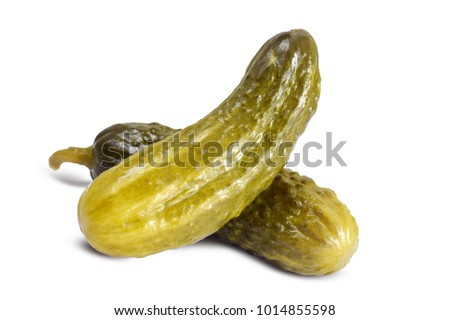 Cucumber cornichons or pickle closed up isolated on white Photo stock ©