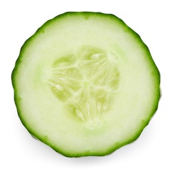 Cucumber half isolated on white background. Cucumber on white. Cucumber with clipping path