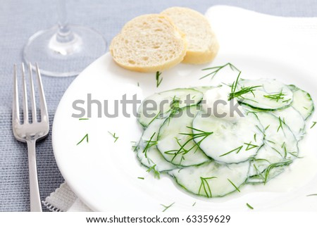 cucumber salad with dill and sour cream