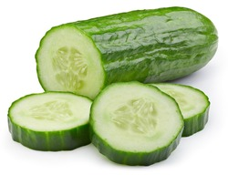 Cucumber slice isolated. Cucumber on white. Full depth of field. With clipping path