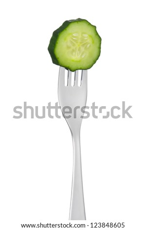 cucumber slice on a fork isolated against white background