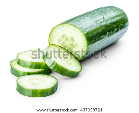 cucumber sliced isolated on white background clipping path