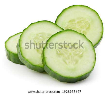 Cucumber slices isolated on white background. Cucumber Clipping Path. Image stack full depth of field macro shot