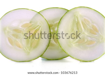 Cucumber slices isolated over white