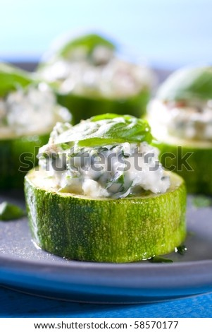 cucumber stick with sheep cheese - stock photo