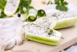 Cucumber Stuffed with Cheese, Herbs, Sunflower seeds, Sour Cream and Dill
