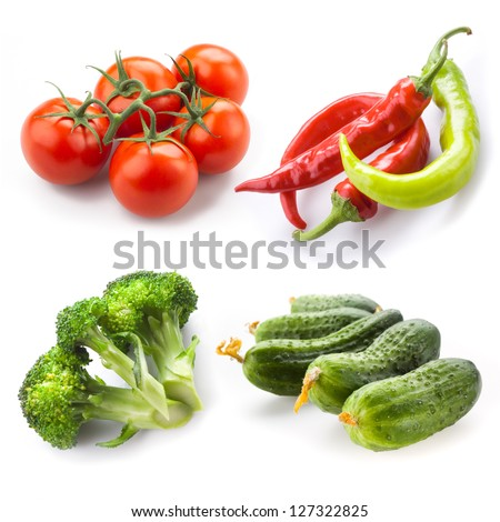 cucumber, tomato, broccoli, pepper chili isolated on white background