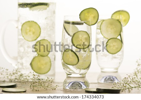 Cucumbers in cold water for refreshing summer drink