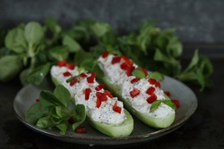 Cucumbers stuffed with cottage cheese
