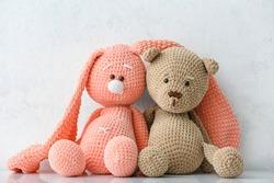 Cuddly toys on white background