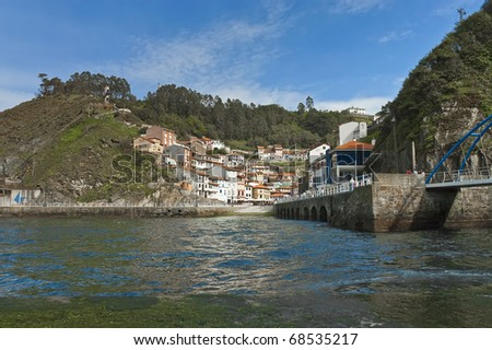Cudillero town as seen from the port, Spain