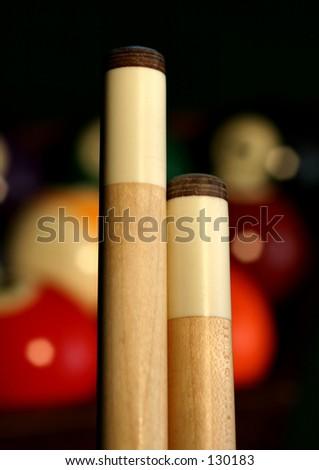 Cue Sticks - stock photo