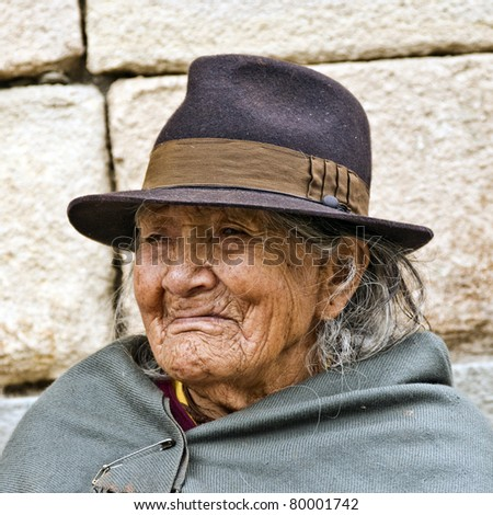 CUENCA, ECUADOR - MAY 30: Portrait of an Andean indigenous aged lady on May 30, 2011 in Cuenca, Ecuador. Most indigenous people in this area are active and productive even after a hundred years old.