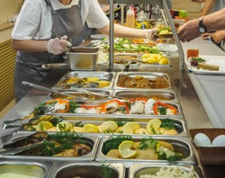 Cuisine cafeteria buffet with food. Self-service food display showcase.