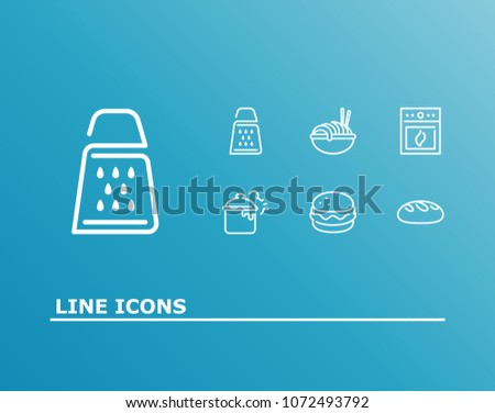 Cuisine icon set and bread with sandwich, oven, pasta. Burger related cuisine icon  for web UI logo design.