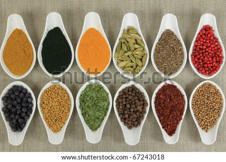 Cuisine ingredients - herbs and spices. Food additives.