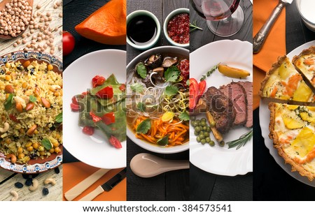 Cuisine of different countries. Western and eastern dishes