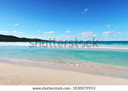CULEBRA ISLAND, PUERTO RICO, 2018. Flamenco beach, Nature Island Paradise. Caribbean beach colors, pristine white sands with fluffy waves that look like clouds. Bright blue hues, sand, sea & sky.