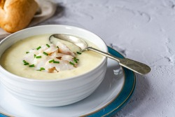 Cullen skink - traditional Scottish soup made of smoked haddock, potatoes and onions