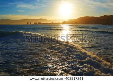 Cullera Playa los Olivos beach sunset in Mediterranean Valencia at Spain #402817261