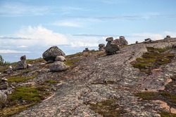 Cult stones laid out by an ancient man on the islands of the White Sea