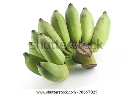 Cultivated banana isolated on white background with clipping path
