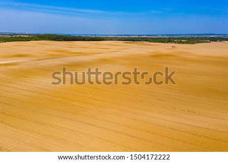 Cultivated farmlands are prepared for planting, aerial landscape. Agriculture concept #1504172222