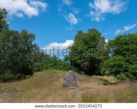 Cultural grass landscape with burial mounds from the viking age. Ancient grave stone in centre image. Stones and trees scattered in the scene. Shot in Birka, Sweden, Scandinavia Stock fotó ©