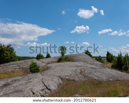 Cultural grass landscape with burial mounds from the viking age. Stones and trees scattered in the scene. Shot in Birka, Sweden, Scandinavia Stock fotó ©