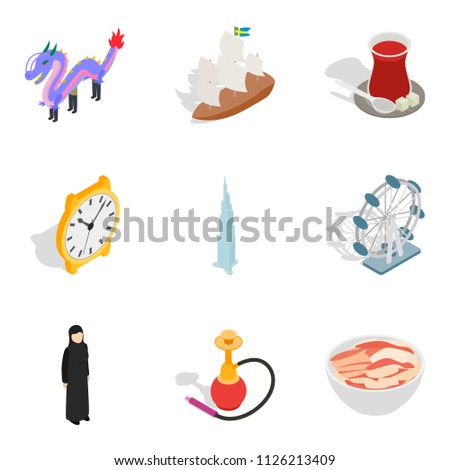 Cultural variety icons set. Isometric set of 9 cultural variety icons for web isolated on white background