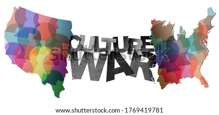 Culture war and cultural wars concept or USA heritage and divided American politics as different philosophy as cultures and ideology in conflict in the United States in a 3D illustration style.