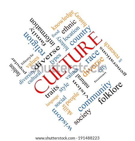 Culture Word Cloud Concept angled on a Blackboard with great terms such as values, diversity, language and more.