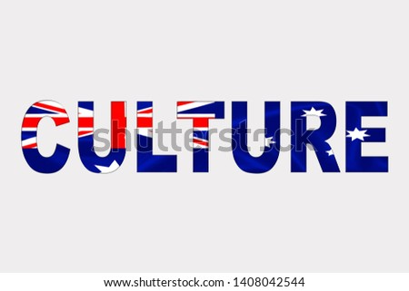 Culture word over Australian Flag. Cultural Diversity concept.