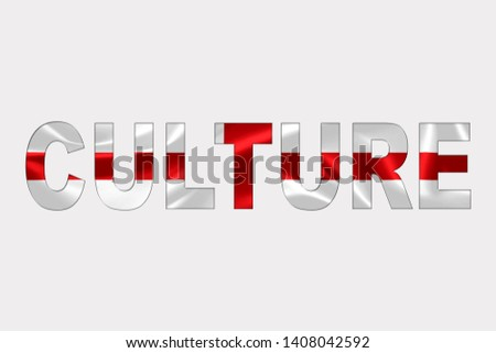 Culture word over England Flag. Cultural Diversity concept.