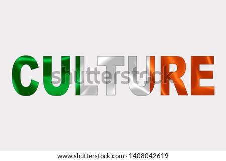 Culture word over Irish Flag. Cultural Diversity concept.