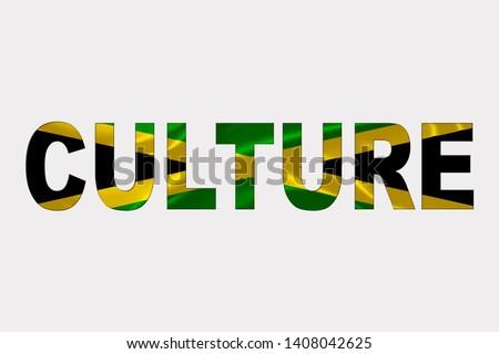 Culture word over Jamaican Flag. Cultural Diversity concept.