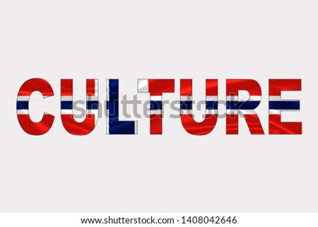 Culture word over Norwegian Flag. Cultural Diversity concept.