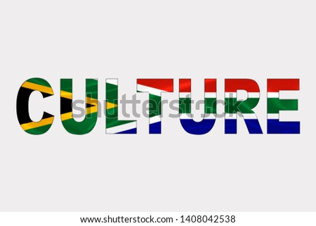 Culture word over South African Flag. Cultural Diversity concept.
