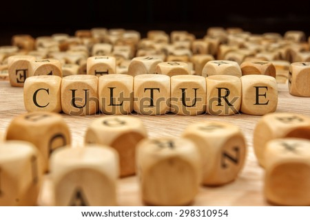 CULTURE word written on wood block #298310954