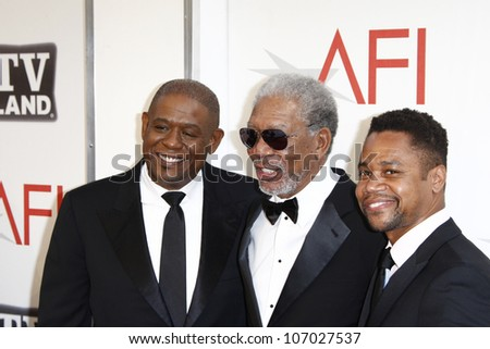 CULVER CITY - JUN 9: Forest Whitaker, Morgan Freeman, Cuba Gooding Jr at the 39th AFI Life Achievement Award Honoring Morgan Freeman in Culver City, California on June 9, 2011.