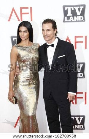 CULVER CITY - JUNE 9: Camila Alves, Matthew McConaughey at the 39th AFI Life Achievement Award Honoring Morgan Freeman held at Sony Pictures Studios  in Culver City, California on June 9, 2011. - stock photo