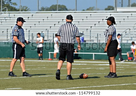 CUMMING, GA/USA - SEPTEMBER 22: Unidentified officials during a football game September 22, 2012 in Cumming GA. North Forsyth vs Lakeside.