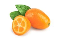 Cumquat or kumquat with half isolated on white background