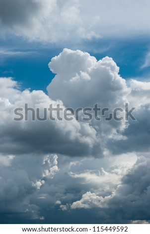 Cumulus clouds are beginning to form a thundercloud