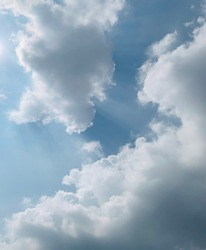 Cumulus clouds in the afternoon sky are beautiful at Bangkok, Thailand. No focus