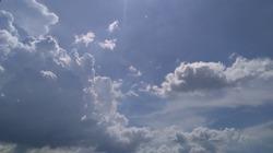 Cumulus nimbus rain clouds with blue sky background.