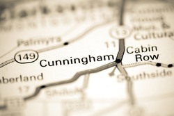 Cunningham. Tennessee. USA on a geography map