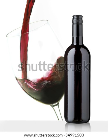 CUP AND BOTTLE OF RED WINE LABEL DESIGN